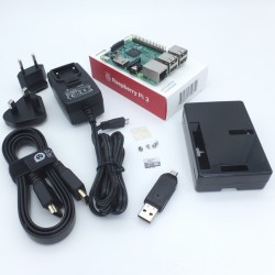 Raspberry Pi 3 Model B Kit includes 16GB/class 10 microSD + case + 5V/3A Adapter + Heatsinks + HDMI Cable + microSD