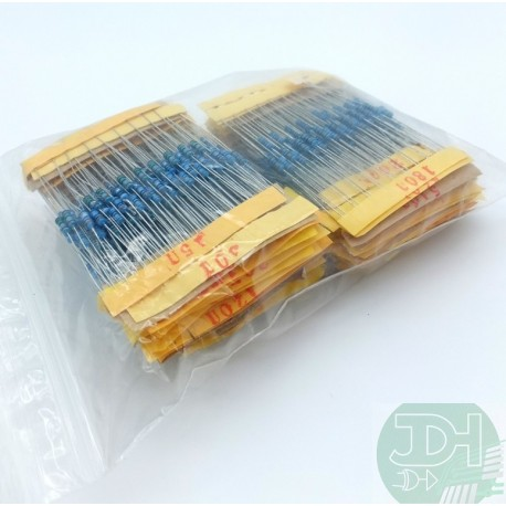 Paquete De Resistencias 1% 1/4w 10x122 Valores (1220pz)
