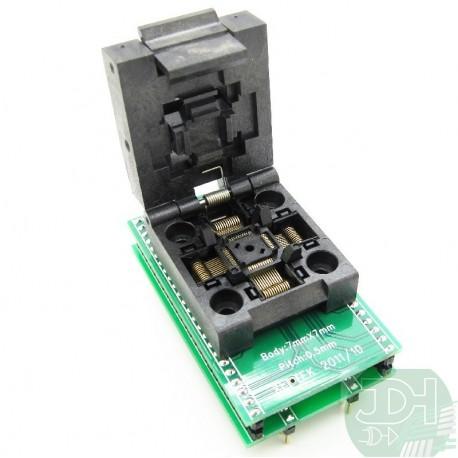 Adaptador de circuito integrado QFP44 a DIP44 en base zocalo ZIF