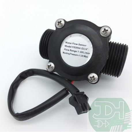 Liquid flow sensor flowmeter 1 to 60 liters/min NPT 3/4