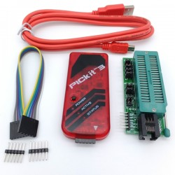 PICkit 3 ICSP Programmer kit: Programmer, Adapter module with ZIF Socket and cables