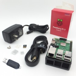 Raspberry Pi 3 Model B+ Kit includes 16GB/class 10 microSD + case + 5V/3A Adapter + Heatsinks + HDMI Cable + microSD
